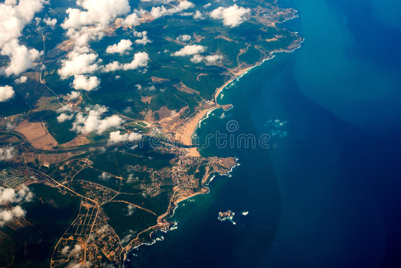 Aerial shot from a plane royalty free stock image