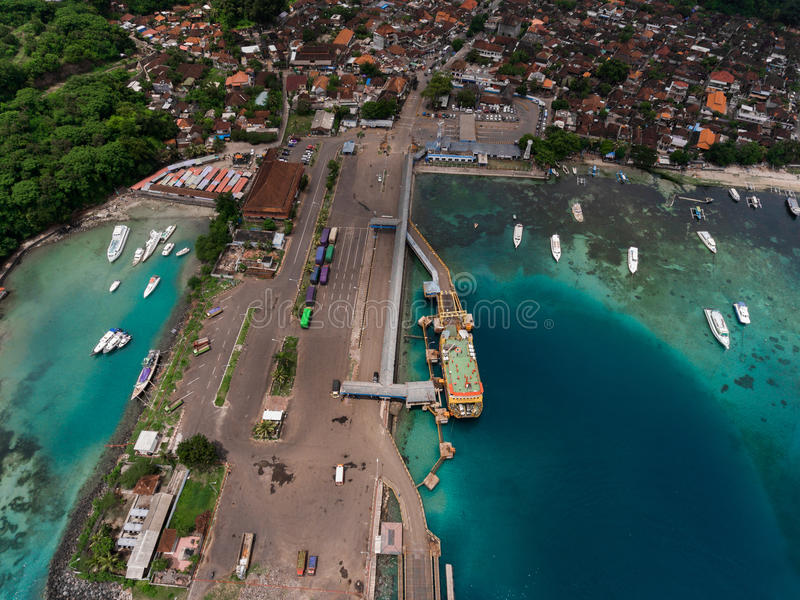 Aerial shot of the port in the sea stock image