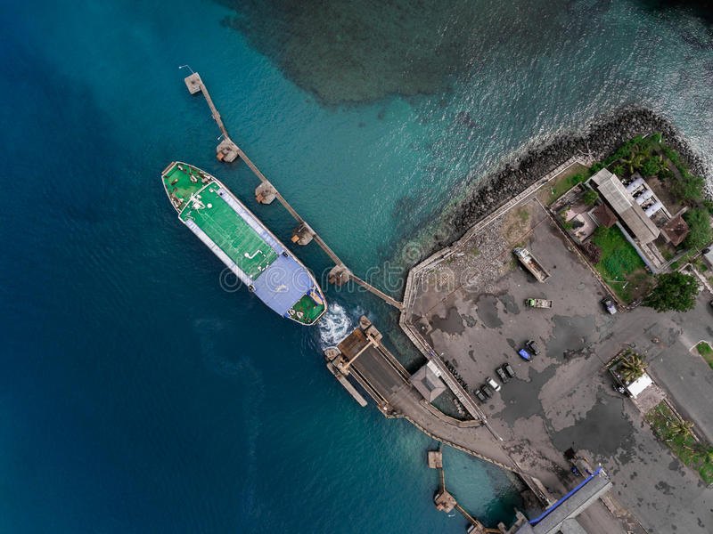 Aerial shot of the port in the sea royalty free stock photography
