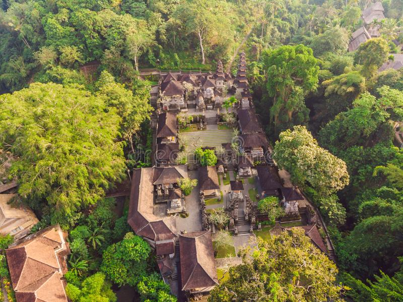 Aerial shot of the Pura Gunung Lebah temple in Ubud on the Bali island royalty free stock image