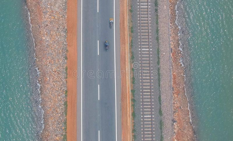 Three paths to ride. This is aerial shot.road between sea stock image