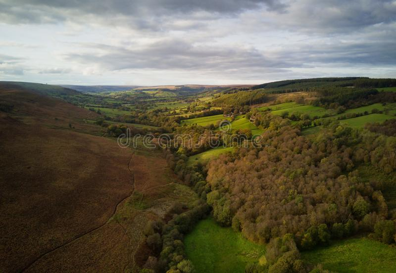 Aerial shot of Rosedale with Autumn colours. Rosedale is a valley in the North York Moors National Park stock images