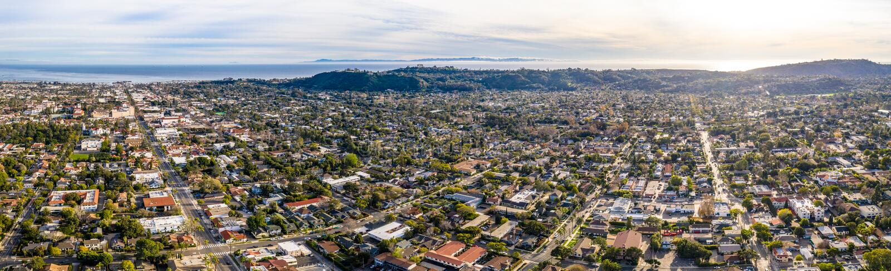 Aerial shot of Santa Barbara California USA, CIty, Streets, Houses Pacific Ocean, Motels royalty free stock images