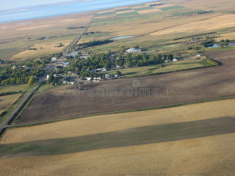 Aerial shot of Saskatchewan. Farmland royalty free stock photo