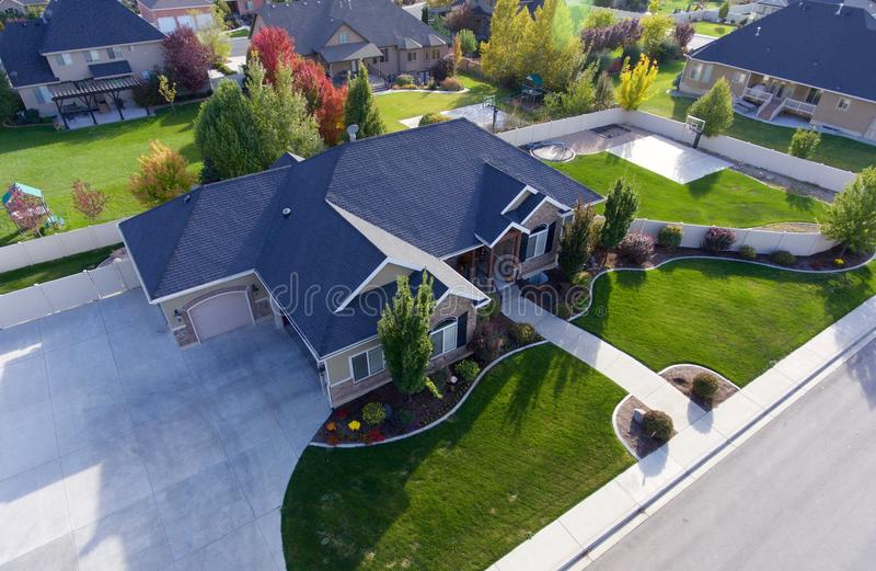 Aerial shot of single-family home in the fall. Home is in Pleasant Grove, Utah royalty free stock image