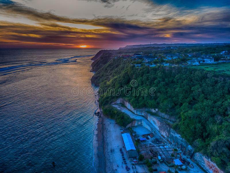 Aerial shot of sunset scenery at Pandawa Beach royalty free stock photos