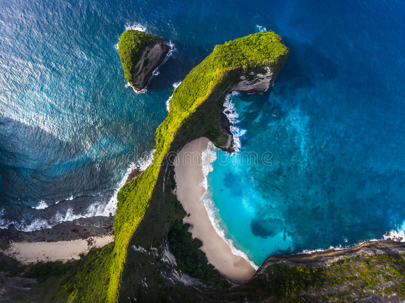 Aerial shot of the tropical beach and cliffs royalty free stock images