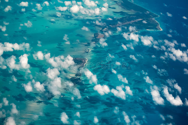 Aerial shot of the tropical islands royalty free stock images