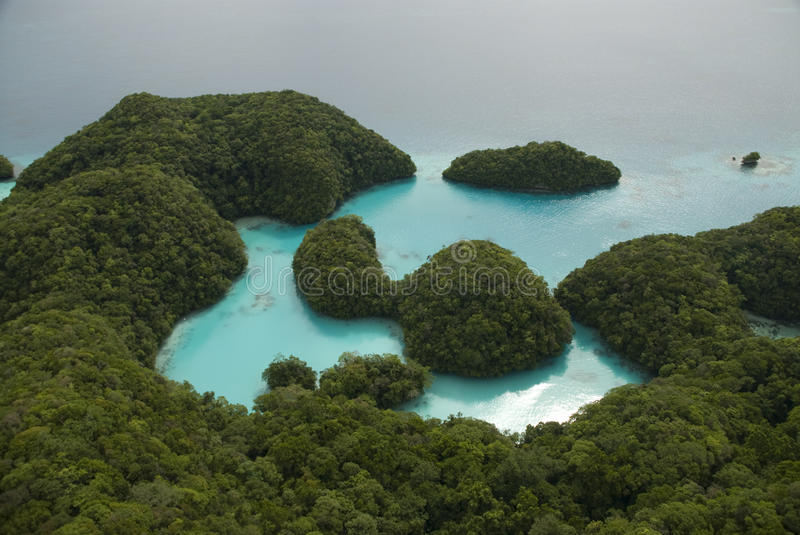 Aerial Shot Of Tropical Islands And Lagoon Royalty Free Stock Images