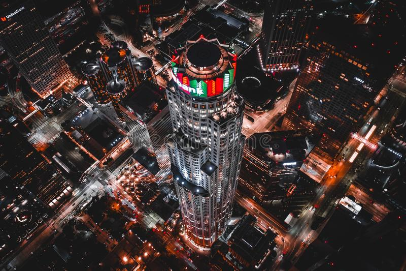 Aerial shot of the U.S. Bank Tower royalty free stock photography