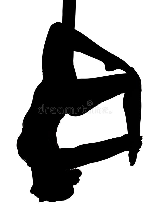 Aerial silk dancing. & x28;yoga fly& x29; in silhouette stock illustration