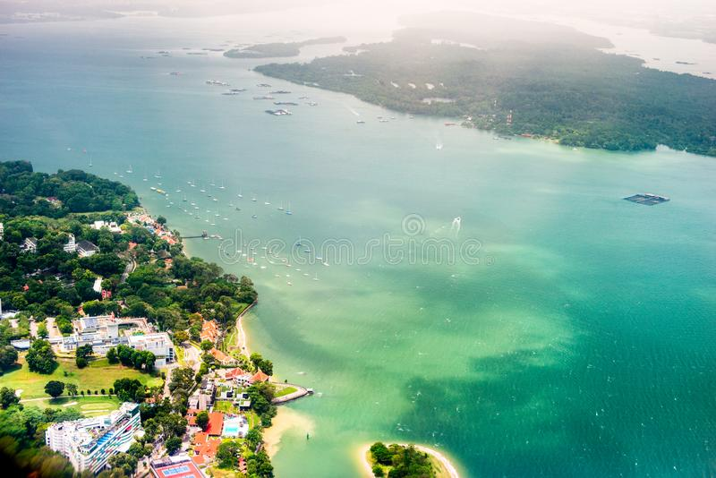 Aerial singapore photo by day from the height, royalty free stock photo