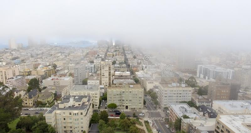 Aerial skyline of foggy San Francisco royalty free stock photo