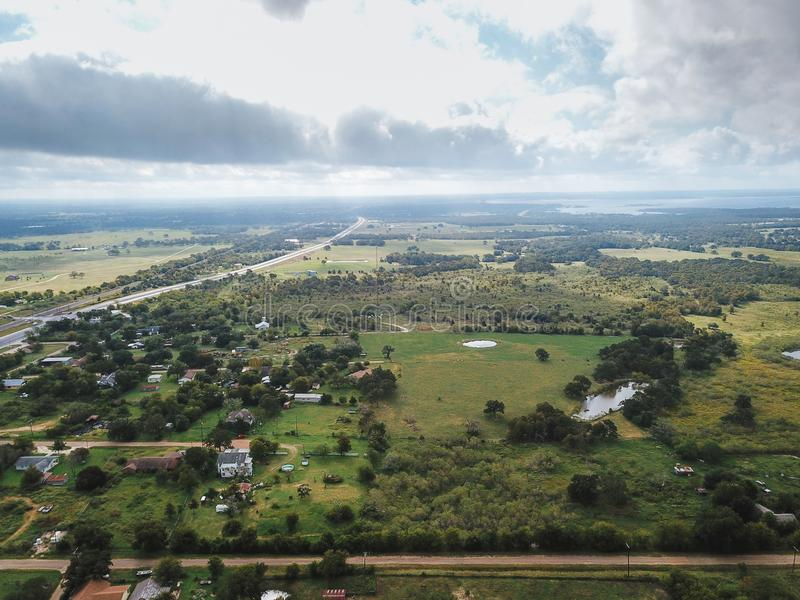 Aerial of the Small Rural Town of Sommerville, Texas Next in Bet. Ween Houston, and Austin royalty free stock photos
