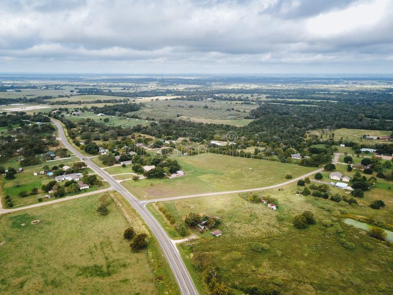 Aerial of the Small Rural Town of Sommerville, Texas Next in Bet. Ween Houston, and Austin stock photo