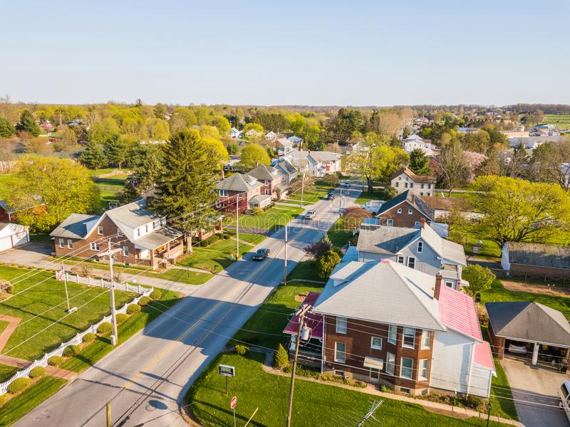Aerial of the Small Town surrounded by farmland in Shrewsbury, P. Ennsylvania royalty free stock photo