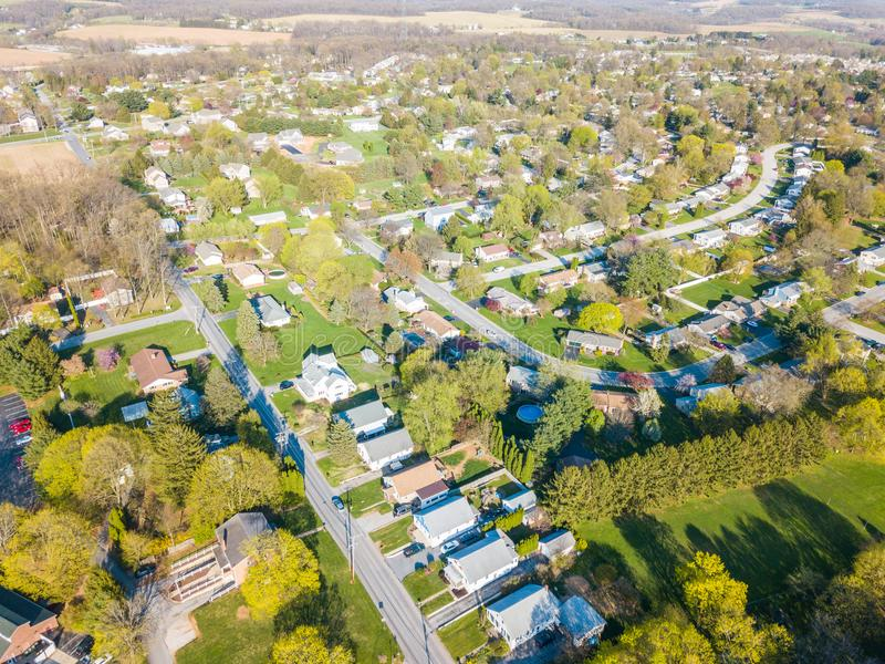 Aerial of the Small Town surrounded by farmland in Shrewsbury, P. Ennsylvania royalty free stock images