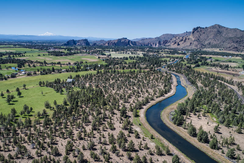Aerial of the Smith Rock State Park Area royalty free stock photography