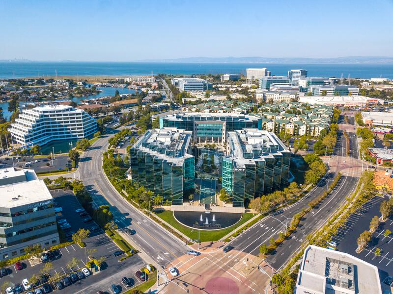 Aerial of sony play station headquarters in san mateo california united states of america. Foster City, CA, United States - Jan 15, 2018: Aerial of sony play stock photos