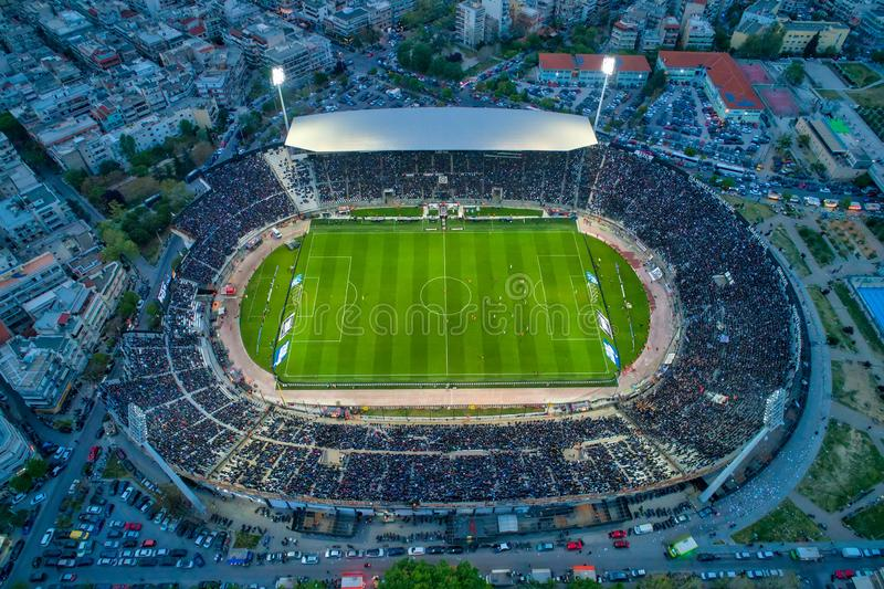 Aerial soot of the Toumba Stadium full of fans during a football match for the championship between teams PAOK vs Lamia stock photos