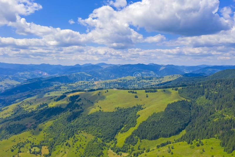 Aerial summer scene in mountains royalty free stock photos