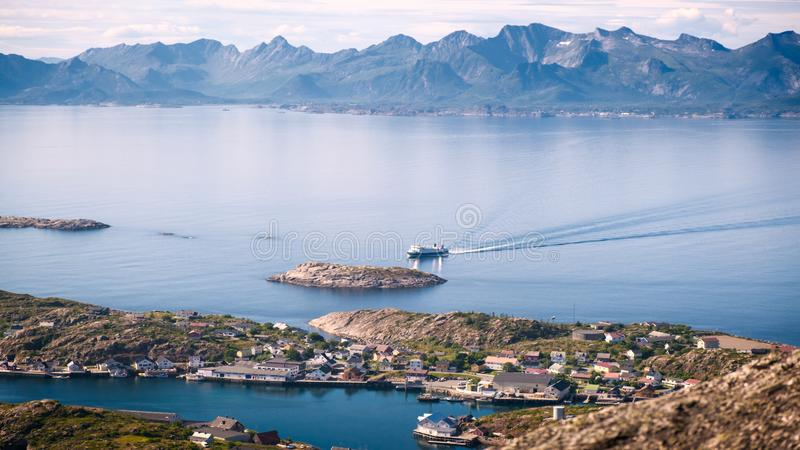 Aerial summer sea panorama  view of  norway mountains, lofoten, vacation concept stock images