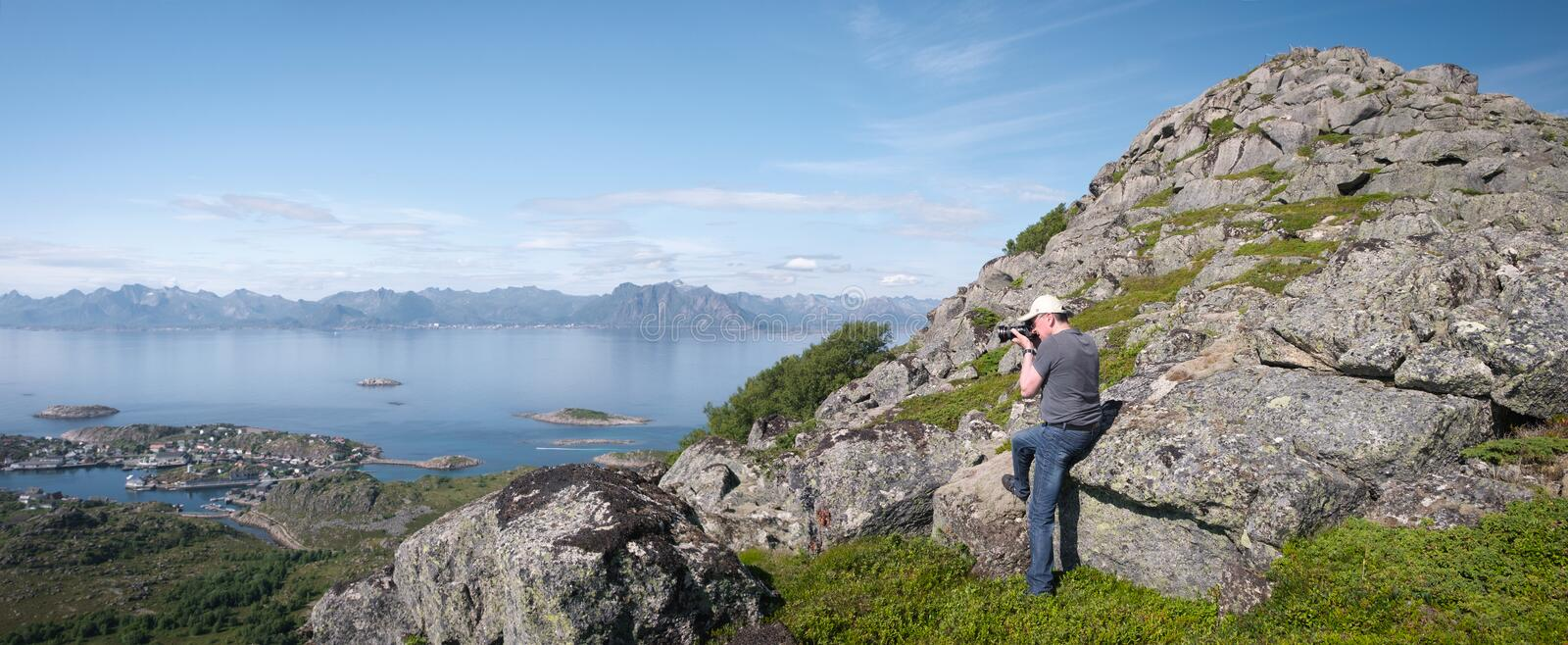 Aerial summer sea panorama view of norway mountains, lofoten, vacation concept, tourist photographs a seascape from above royalty free stock photos