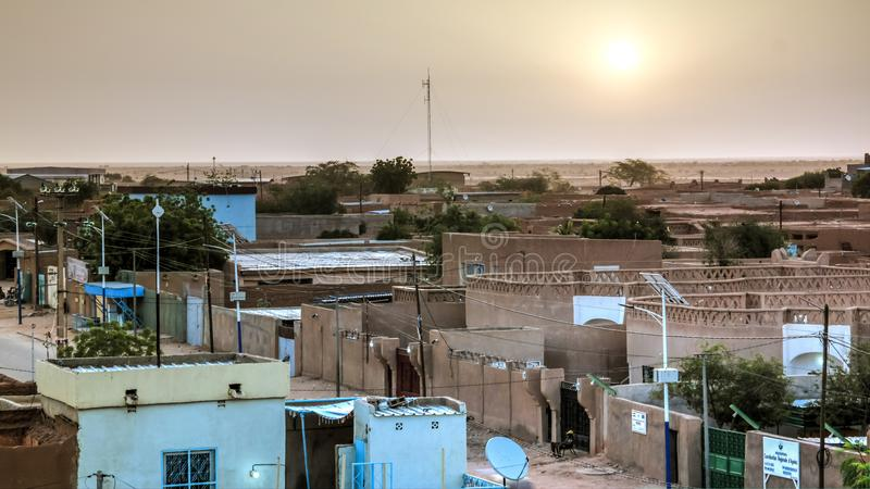 Aerial sunrise panoramic view to Agadez old city, Air, Niger stock photography