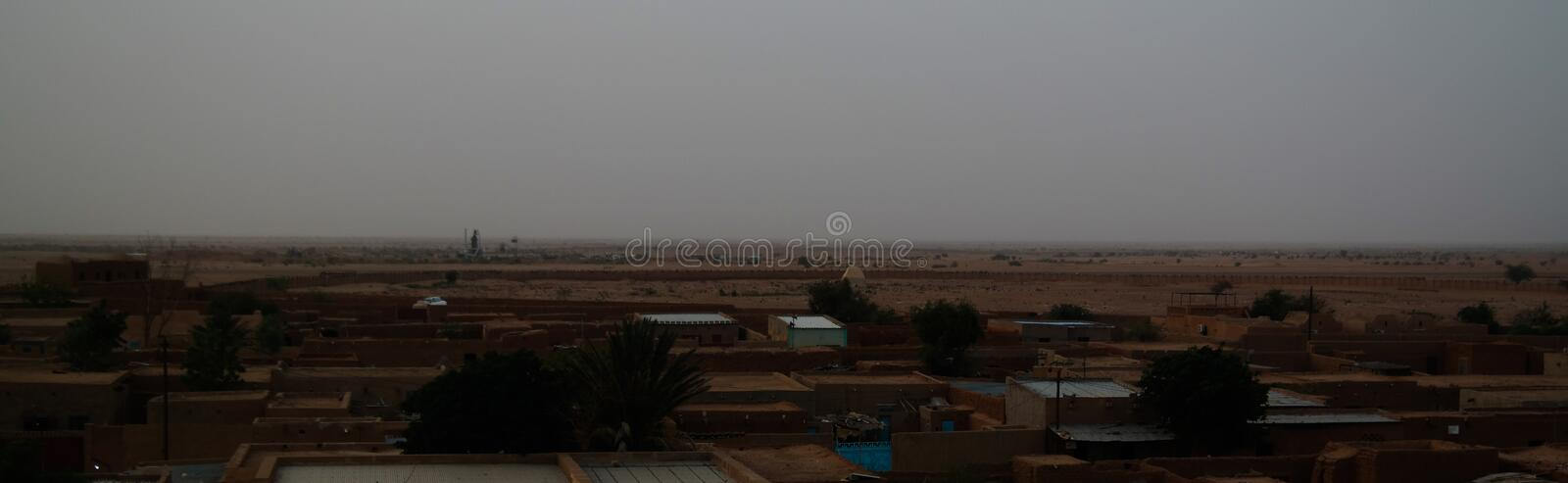 Aerial sunrise panoramic view to Agadez old city, Air, Niger. Aerial sunrise panoramic view to Agadez old city at Air, Niger stock images
