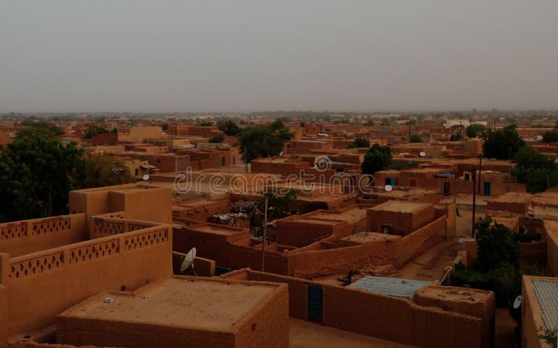 Aerial sunrise panoramic view to Agadez old city, Air, Niger. Aerial sunrise panoramic view to Agadez old city at Air, Niger stock photography