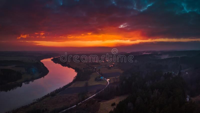 Aerial sunrise or sunset with fog and river royalty free stock photo