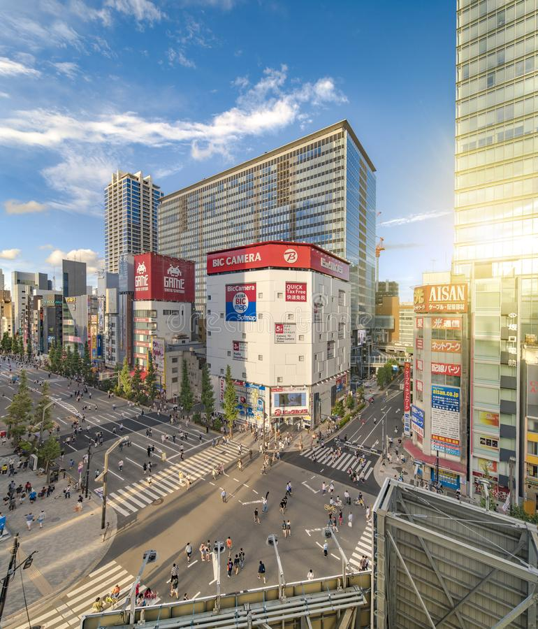 Aerial sunset view of the Akihabara Crossing Intersection in the electric town of Tokyo in Japan.  royalty free stock photos
