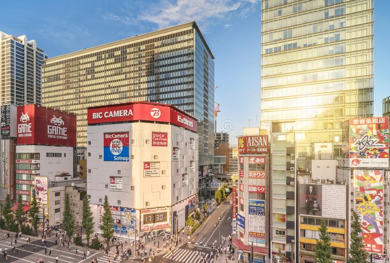 Aerial sunset view of the Akihabara Crossing Intersection in the electric town of Tokyo in Japan.  royalty free stock photo