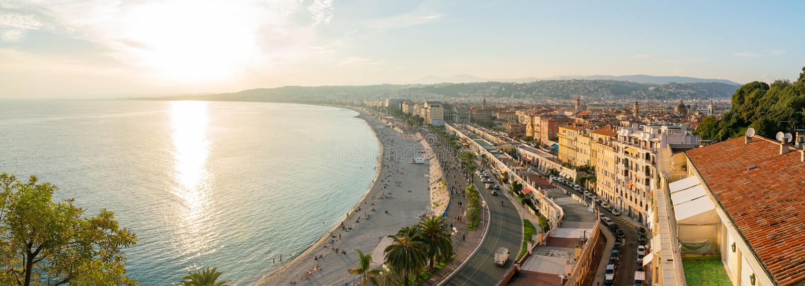 Aerial sunset view of the famous Angel's Bay, Nice stock image