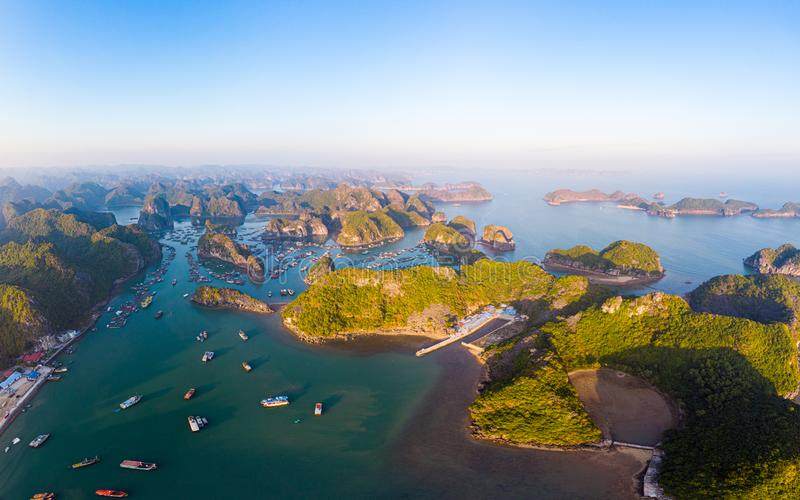 Aerial sunset view of Lan Ha bay and Cat Ba island, Vietnam, unique limestone rock islands and karst formation peaks in the sea, royalty free stock photos