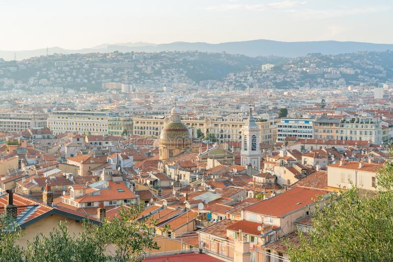Aerial sunset view of the Nice downtown cityscape from Castle Hill stock photos