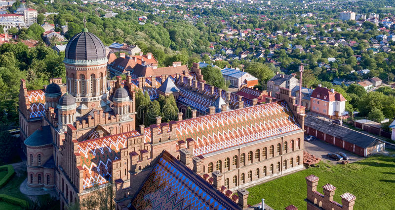 Aerial survey of Chernivtsi University. Residence of Bukovinian and Dalmatian Metropolitans, now part of Chernivtsi University. Yuriy Fedkovych Chernivtsi royalty free stock photography