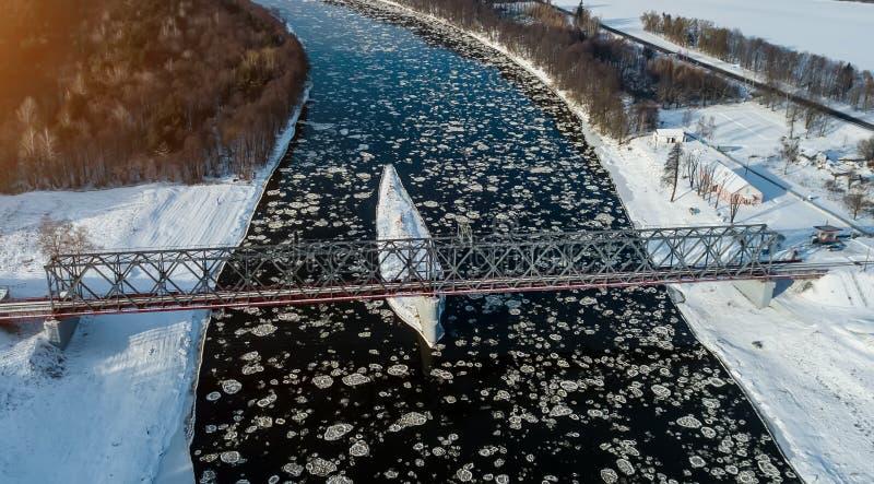 Aerial survey of ice drift. bird`s eye view stock image