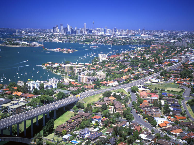 Aerial of Sydney. New South Wales Sydney Australia Parramatta river Drummoyne suburb and Victoria road and the approach to the Gladesvillle Bridge stock photo