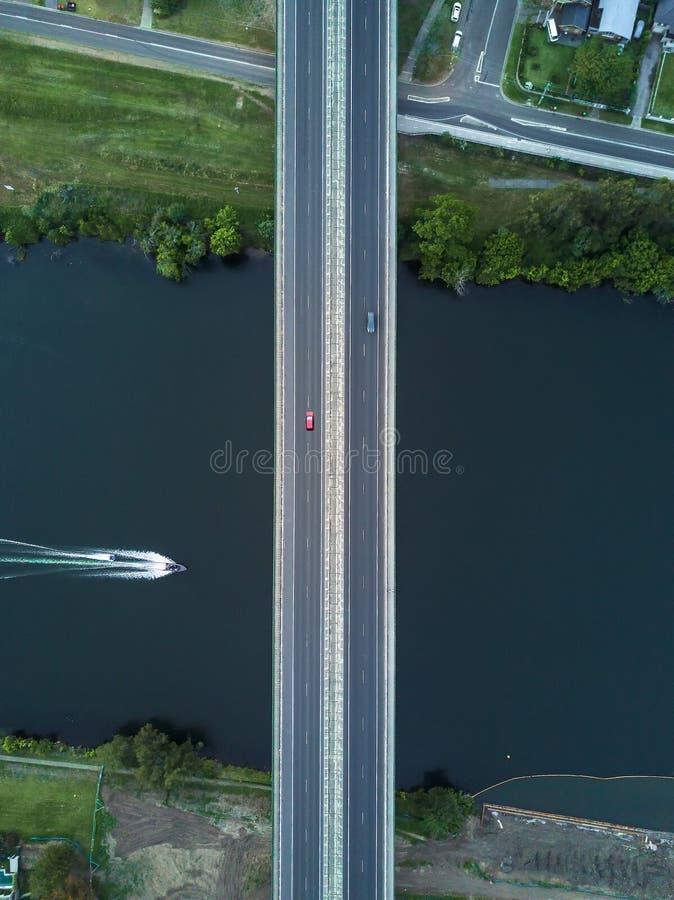 Aerial symmetric shot of a bridge stock images