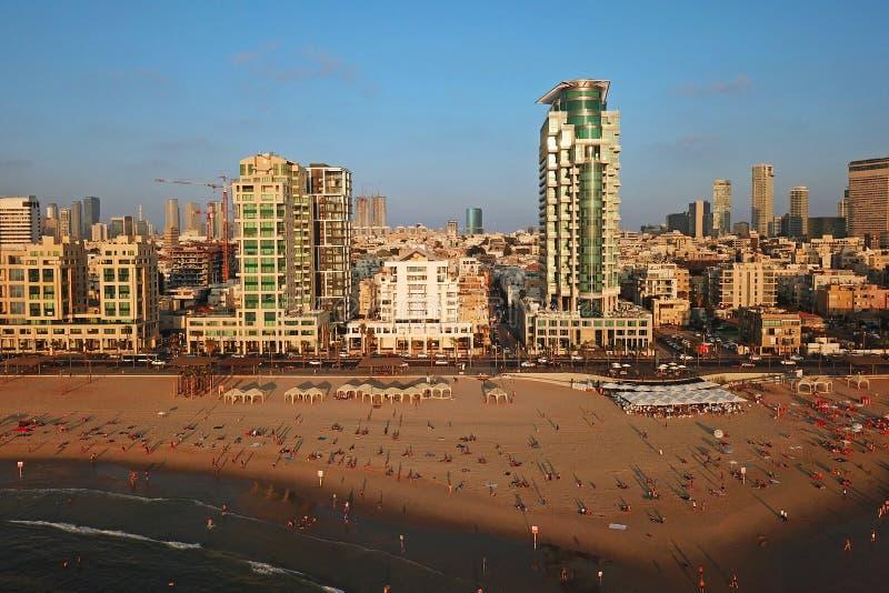 Aerial of Tel Aviv waterfront, Israel stock photos
