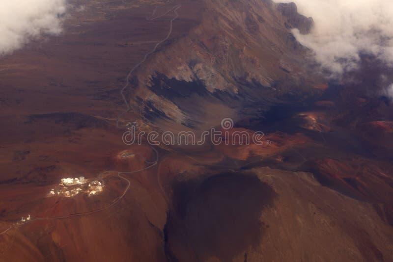 Aerial of Telescopes and roadway on top of Mauna Kea Mountain on Hawaii island stock photos