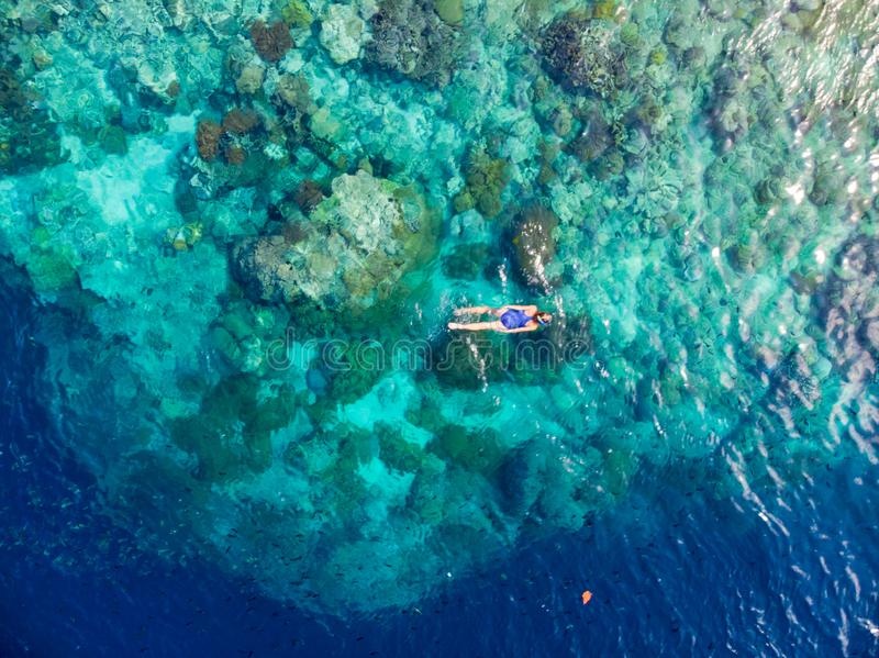 Aerial top down people snorkeling on coral reef tropical caribbean sea, turquoise blue water. Indonesia Wakatobi archipelago, royalty free stock images