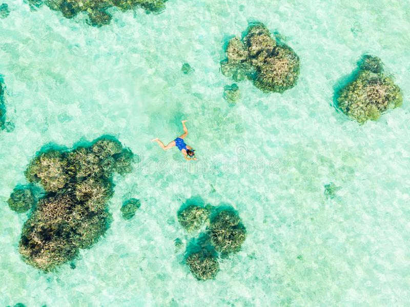Aerial top down people snorkeling on coral reef tropical caribbean sea, turquoise blue water. Indonesia Wakatobi archipelago, royalty free stock photo