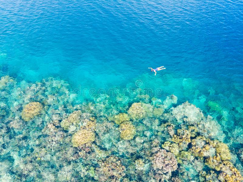 Aerial top down people snorkeling on coral reef tropical caribbean sea, turquoise blue water. Indonesia Wakatobi archipelago, stock photo