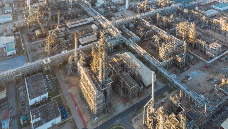 Aerial top down photo of petroleum refinery.  royalty free stock image