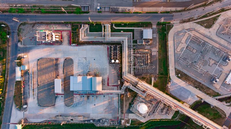 Aerial top down photo of petroleum refinery.  royalty free stock photos