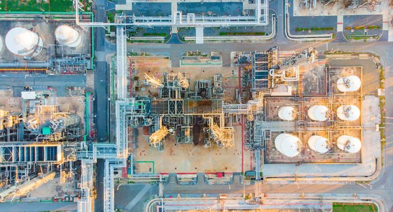 Aerial top down photo of petroleum refinery.  stock photography