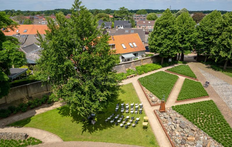 Aerial top down view . Beautiful daytime view from castle. Small lake landscape view. Castle with garden panoramic. In Kessel, Netherlands stock photos
