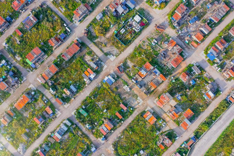 Aerial top-down view high altitude of slum a heavily populated urban informal settlement characterized builders and wage workers royalty free stock photos